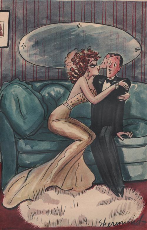"Barbara Shermund illustration of a forward woman embracing a stiff, scared looking man on a couch. Man is saying, ""Please, please, Miss Lamont - I have a wife in the service overseas!"" Circa 1944"