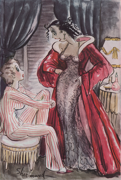 "Barbara Shermund illustration of two women talking in a dressing room, the one standing is wearing a red robe and saying, ""The car radio was on so loud I couldn't understand him - and like a fool I kept nodding my head."" Circa 1937"