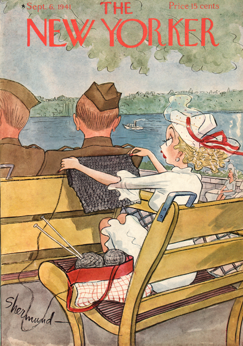 The New Yorker Cover from September 6, 1941 with illustration by Barbara Shermund showing two service men on a boat with a blonde woman in a white dress. She is holding up her knitting to size for the service man in front of her.