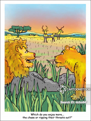 A pair of lions are standing in brush. They're looking at several antelopes feeding on grass in the distance. The male lion asks the lioness which she likes more, the chase of the kill.
