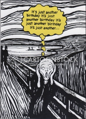 """Cartoon version of Edvard Munch's """"The Scream"""" satirizing people who freak out about having a birthday. The person is the picture is thinking: it's only a birthday, it's only a birthday, it's only a birthday, and so on."""
