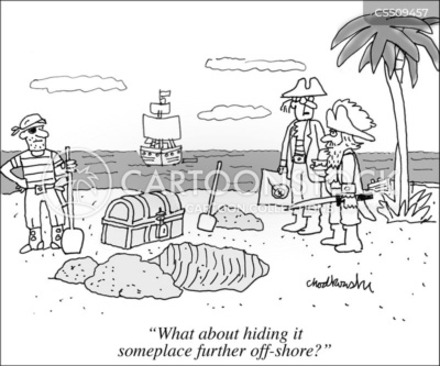 """Cartoon. Pirates on a beach with treasure chest. The crew has been digging a hole to bury it in. The pirate ship is anchored off-shore. Another man, map in hand, says, """"What about hiding it someplace further off-shore?"""""""