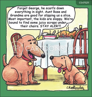 Cartoon of parent dog telling a puppy how great the pickings will be from the Holiday feast sitting on the dining-room table. The puppy gets coached on how to get the best and most dropped food and handouts.