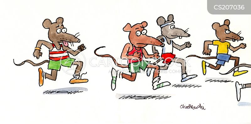 We see Rats dressed and running like runners in a marathon. That says it all about a stressful lifestyle.