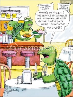 A turtle sits at a table in the Tortoise cafe. He's banging on the table with his fork and knife wanting to know what's taking so long. The waitress, also a turtle, is bringing his food as quickly as she can.