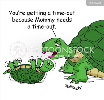 """Cartoon. A baby turtle is on it's back and wiggling to turn over. Its mother is explaining, """"You're getting a time-out because Mommy needs a time-out."""""""