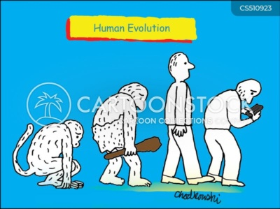 Human Evolution told in four images; a monkey squatting on two feet, than a caveman standing up a little straighter, then a modern man standing up straight and finally a current man, going back to being hunched over, this time over his phone.