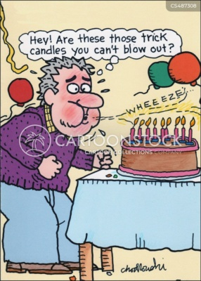 A middle-age man is trying to blow out the candles on his birthday cake. But they won't go out. He wonders if it's because he's lost a beat or are they those trick candles that stay lit?