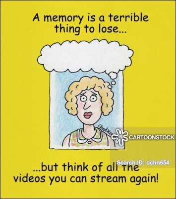 Cartoon portrait of a woman with an empty word bubble above her head, like her mind is gone. The caption says a memory is a terrible thing to lose but think of all the videos you can stream again.