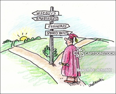 A graduate in robe and cap is standing a a crossroad. One way points to eggsheads, etc. And the other leads to wise guys. The sun is just coming up. It's decision time for the future.